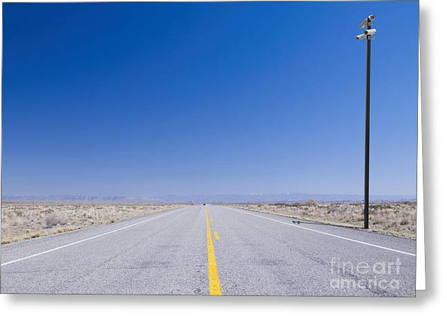 Yellow Line Greeting Cards - Security Camera on Remote Road Greeting Card by Dave & Les Jacobs