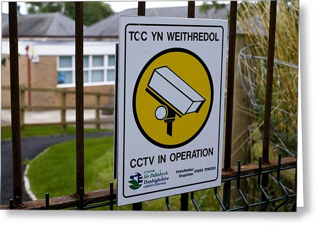 Big Brother Greeting Cards - Security Camera Sign At A School In Wales Greeting Card by Mark Williamson