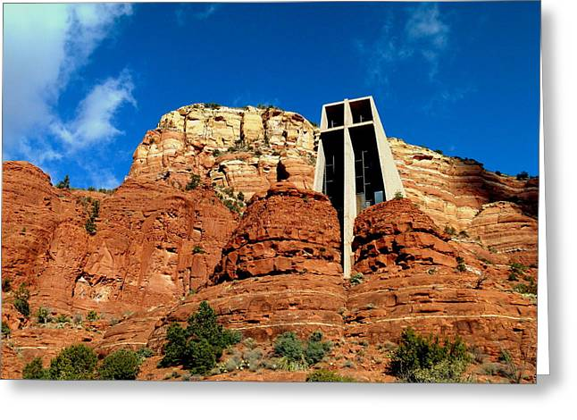 Raw Sienna Greeting Cards - Sedona Chapel of the Holy Cross Greeting Card by Cindy Wright