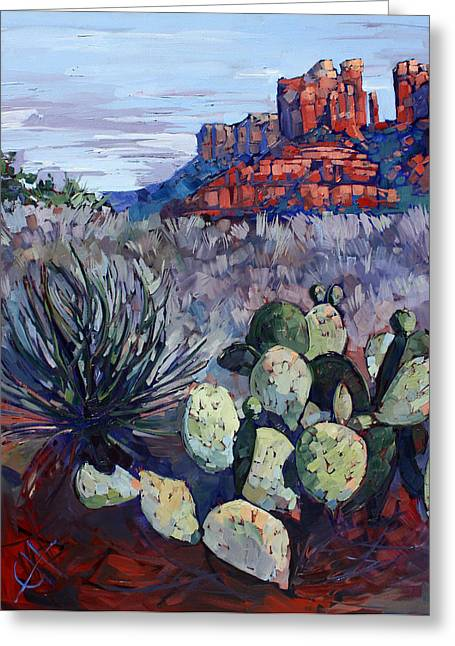 Sedona Scrub Greeting Card by Erin Hanson