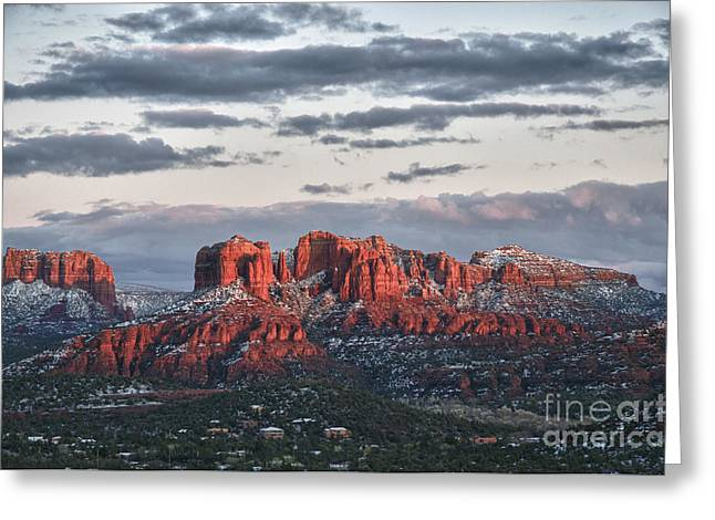 Cathedral Rock Greeting Cards - Sedona Sunset Greeting Card by Jim Chamberlain