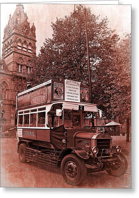Double Decker Greeting Cards - See Chester In Style Greeting Card by Meirion Matthias