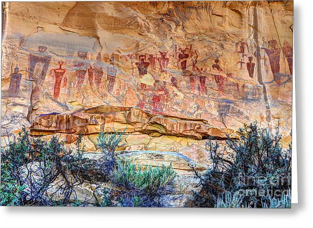 Petroglyph Greeting Cards - Sego Canyon Indian Petroglyphs and Pictographs Greeting Card by Gary Whitton