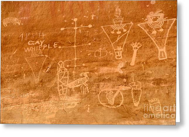 Pictograph Greeting Cards - Sego Canyon Petroglyphs Greeting Card by Gary Whitton