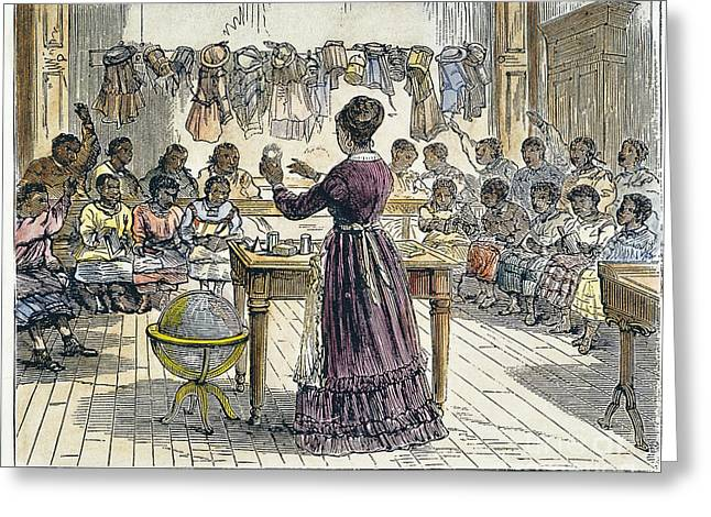 Schoolmistress Greeting Cards - Segregated School, 1870 Greeting Card by Granger