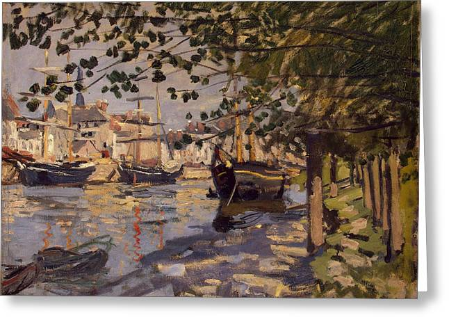 Seine Paintings Greeting Cards - Seine at Rouen Greeting Card by Claude Monet