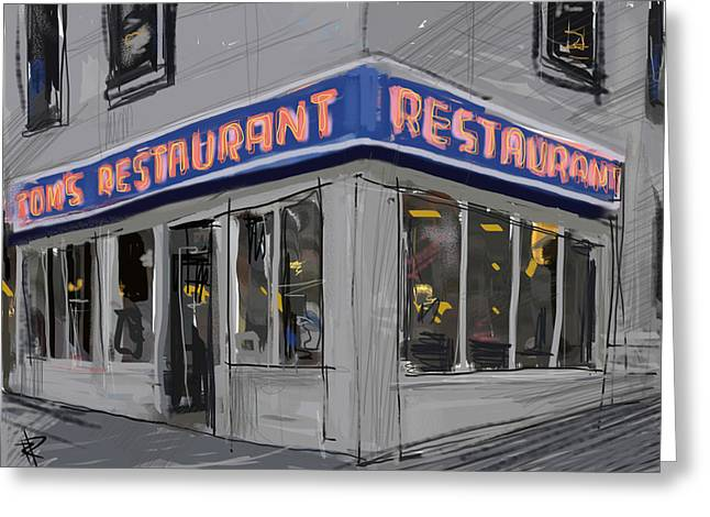 Window Reflection Greeting Cards - Seinfeld Restaurant Greeting Card by Russell Pierce