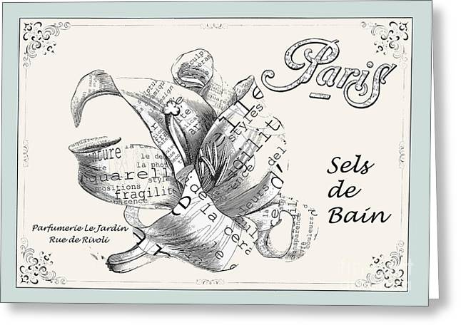 French Script Greeting Cards - Sel de Bain Paris Floral Art Greeting Card by Anahi DeCanio