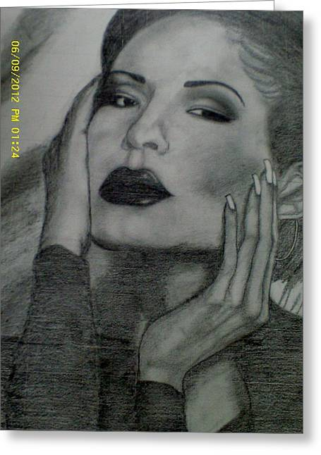Human Beings Drawings Greeting Cards - Selena Quintanilla Perez Greeting Card by Cindy Newings