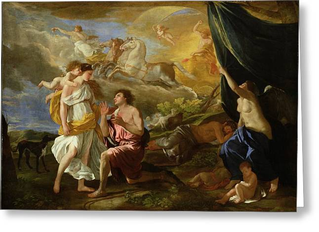 Poussin; Nicolas (1594-1665) Greeting Cards - Selene and Endymion Greeting Card by Nicolas Poussin