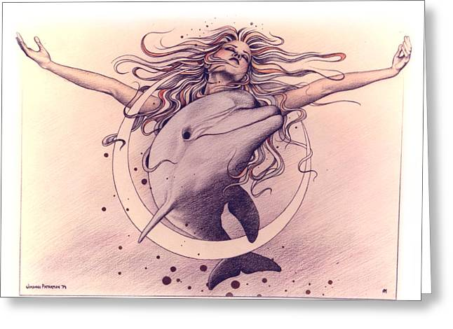 Goddess Pastels Greeting Cards - Selene Greeting Card by Johanna Pieterman