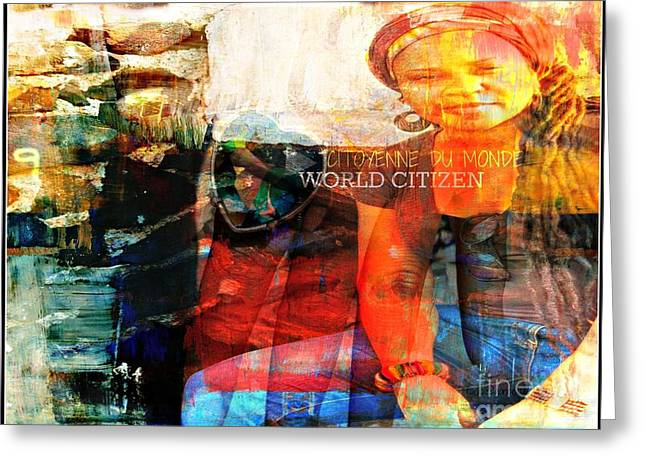 Citizens Mixed Media Greeting Cards - Self - Between the World and Me Greeting Card by Fania Simon