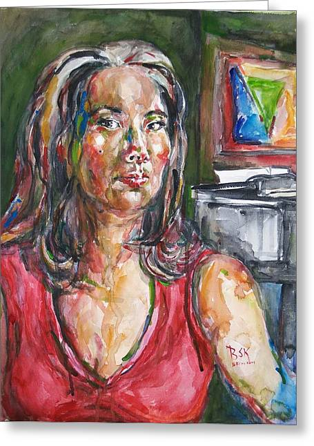 Self-portrait Greeting Cards - Self Portrait 8 Greeting Card by Becky Kim