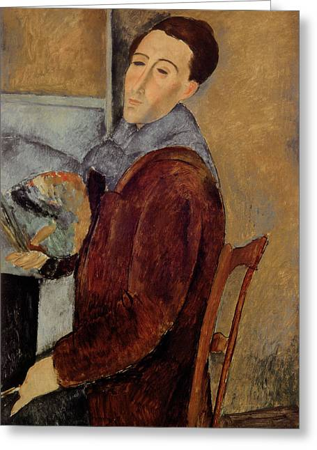 Desks Greeting Cards - Self Portrait Greeting Card by Amedeo Modigliani