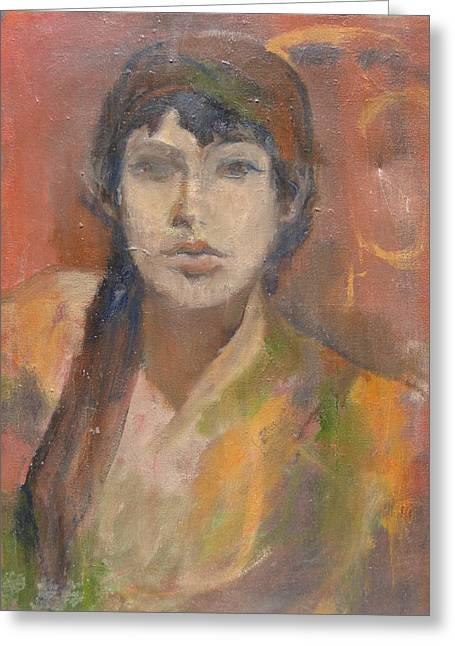 Anita Dale Livaditis Greeting Cards - Self-Portrait Greeting Card by Anita Dale Livaditis
