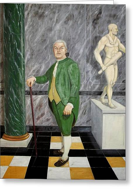 Statue Portrait Paintings Greeting Cards - Self Portrait as a French Republican Greeting Card by Howard Bosler