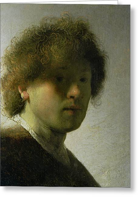 Curled Hair Greeting Cards - Self Portrait as a Young Man Greeting Card by Rembrandt