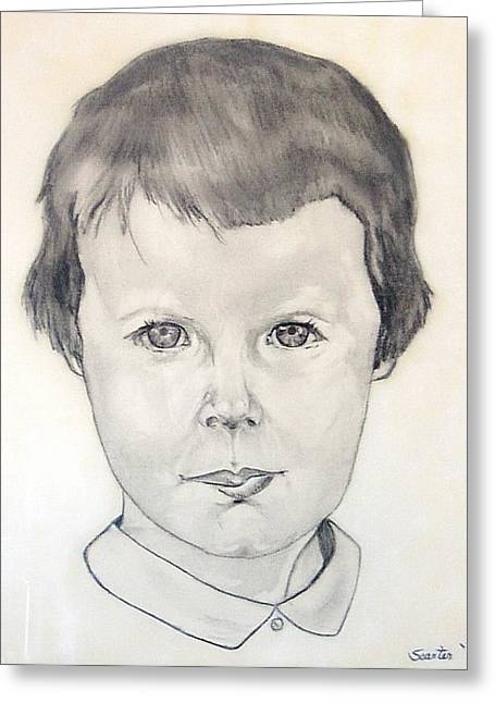 Survivor Art Greeting Cards - Self Portrait Charcoal Greeting Card by Sandi Carter Brown