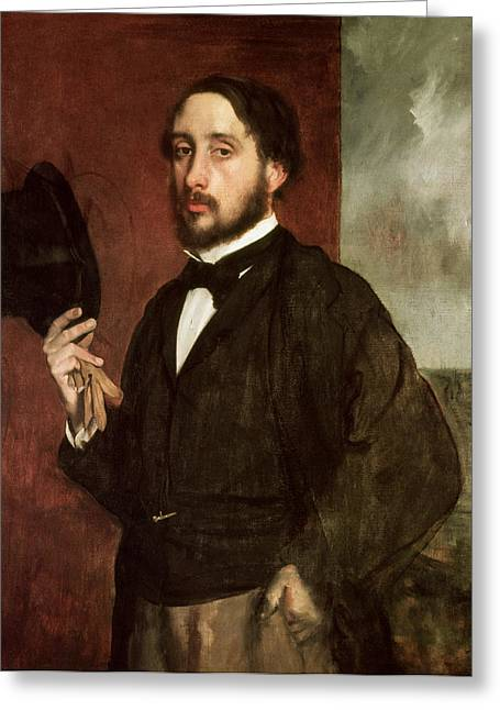 Himself Greeting Cards - Self portrait Greeting Card by Edgar Degas