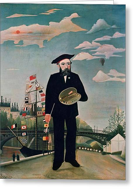 Beret Greeting Cards - Self Portrait from Lile Saint Louis Greeting Card by Henri Rousseau