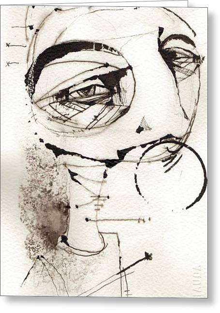 Pen And Ink Portraits Greeting Cards - Self Portrait In Black And White Greeting Card by Mark M  Mellon
