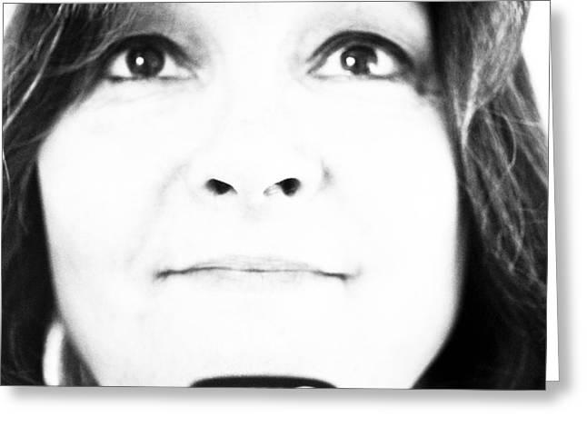 Self-portrait Photographs Greeting Cards - Self Portrait in Black and White Greeting Card by Marie Jamieson