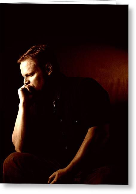 Self-portrait Photographs Greeting Cards - Self Portrait in Copper Greeting Card by Monte Arnold