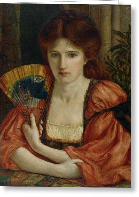 Pre-raphaelites Greeting Cards - Self Portrait Greeting Card by MS Stillman