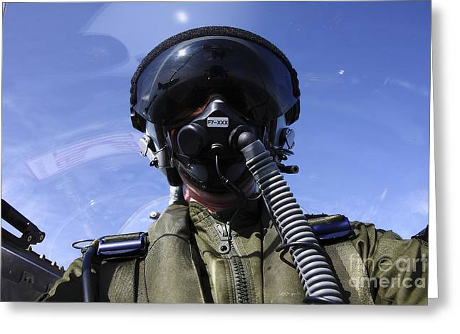 Self-portrait Photographs Greeting Cards - Self-portrait Of A Pilot Flying Greeting Card by Daniel Karlsson