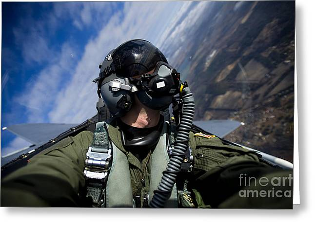 Self-portrait Photographs Greeting Cards - Self-portrait Of A Pilot In The Cockpit Greeting Card by Stocktrek Images