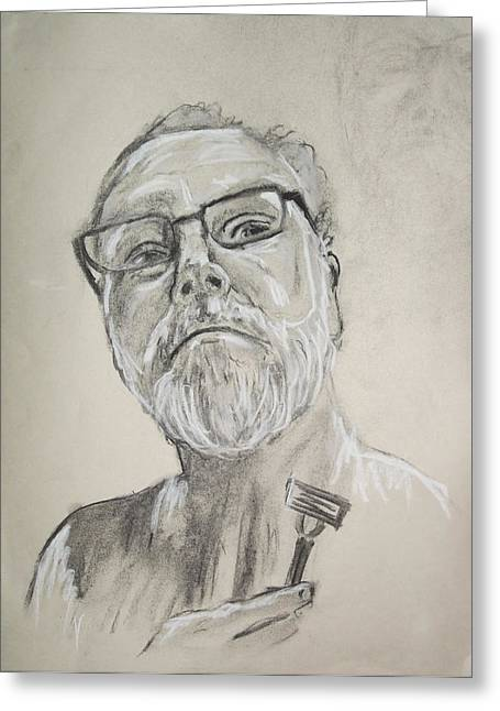 Contemplative Drawings Greeting Cards - Self Portrait Greeting Card by Peter Edward Green