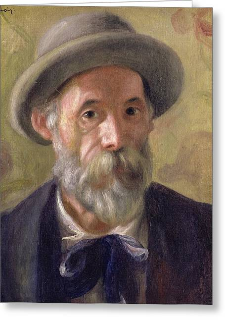 Self-portrait Greeting Cards - Self Portrait Greeting Card by Pierre Auguste Renoir