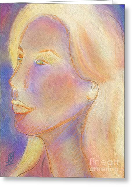 Mistikkal Original Art Greeting Cards - Self Portrait Greeting Card by Rosy Hall