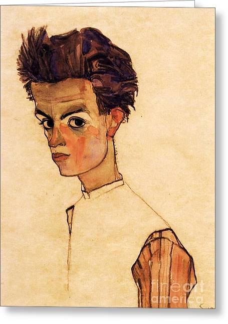 Self-portrait Greeting Cards - Self Portrait Schiele Greeting Card by Pg Reproductions