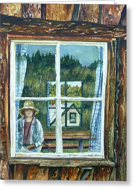 Mountain Cabin Paintings Greeting Cards - Self Portrait Walker Ranch Greeting Card by Anne Gifford
