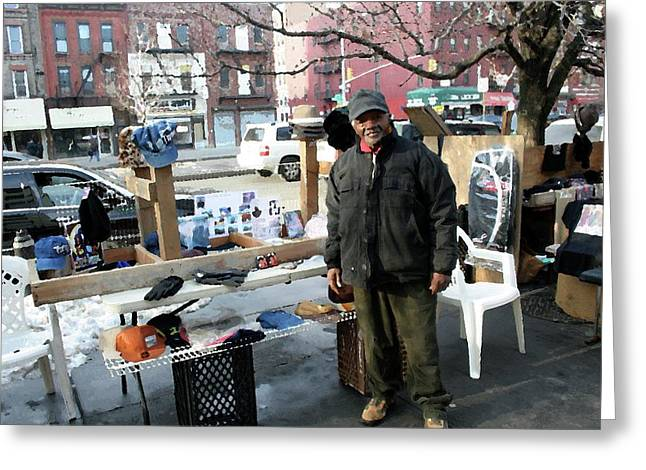 Harlem Ny Digital Art Greeting Cards - Selling My Wares Greeting Card by Terry Wallace