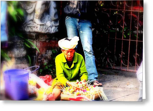 Graffitis Greeting Cards - Selling offerings on Ubud streets Greeting Card by Funkpix Photo Hunter