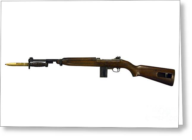 Bayonet Greeting Cards - Semi-automatic M1 Carbine Greeting Card by Andrew Chittock