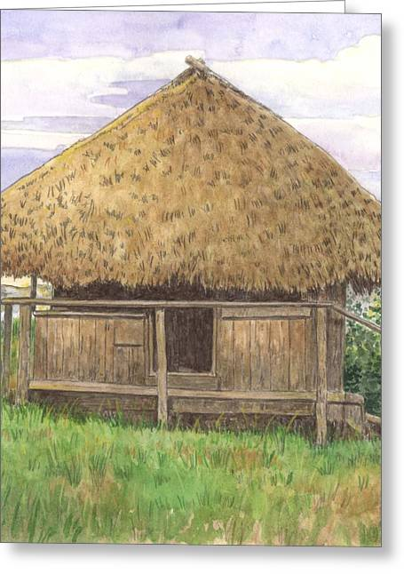 Homes Pastels Greeting Cards - Seminole Hut Greeting Card by Robert Casilla