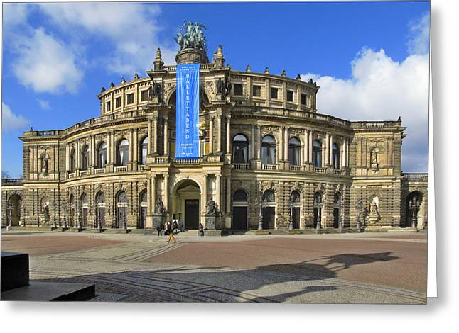 Shadowplay Greeting Cards - Semper Opera House - Semperoper Dresden Greeting Card by Christine Till
