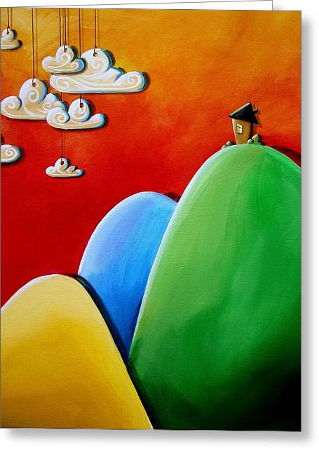 Kid Paintings Greeting Cards - Send In The Clouds Greeting Card by Cindy Thornton