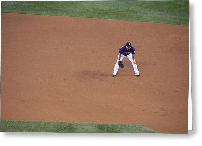 Todd Helton Greeting Cards - Send That Ball My Way Greeting Card by Cynthia  Cox Cottam