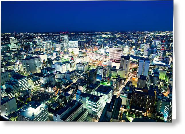 Winter Road Scenes Greeting Cards - Sendai train station by night Greeting Card by Ulrich Schade