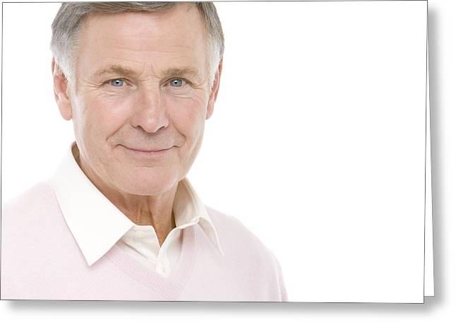 Gray Hair Photographs Greeting Cards - Senior Man Greeting Card by