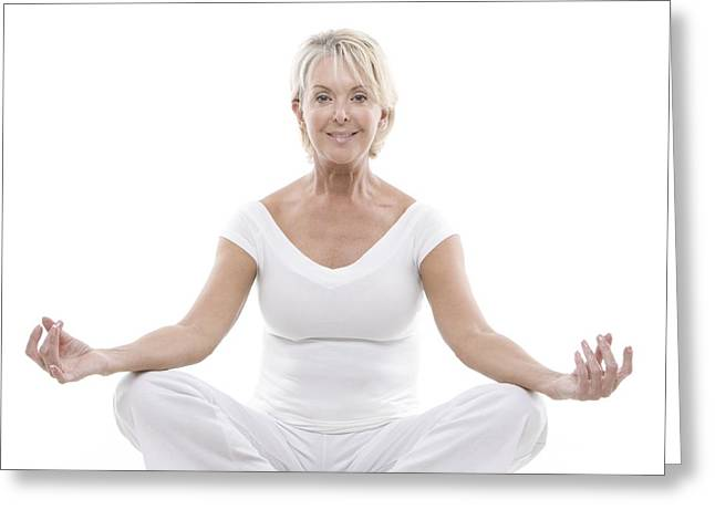 Wellbeing Greeting Cards - Senior Woman Doing Yoga Greeting Card by