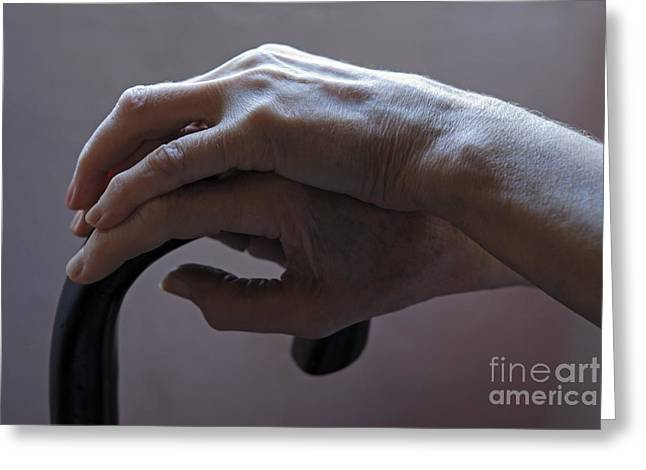 Aging Process Greeting Cards - Senior womans hands on cane Greeting Card by Sami Sarkis