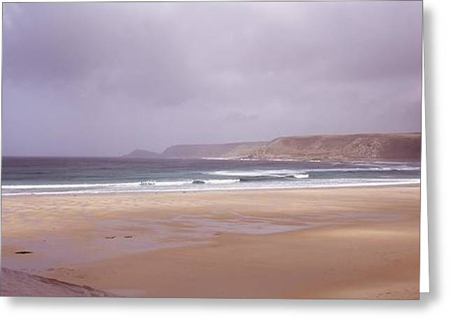 Sennen Cove Greeting Cards - Sennen Cove Beach At Sunset Greeting Card by Axiom Photographic