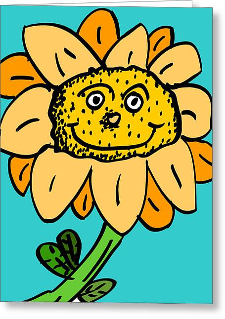 Talking Digital Art Greeting Cards - Senny the Sunflower Greeting Card by Jera Sky