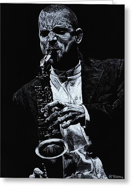 Performers Pastels Greeting Cards - Sensational Sax Greeting Card by Richard Young