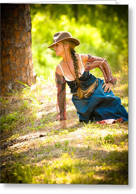 Cowgirl Skirt Greeting Cards - Sensual Freedom Greeting Card by N Taylor